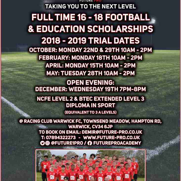 Future Pro Academy Trial dates announced