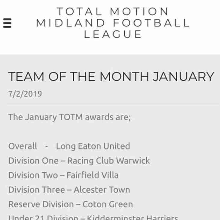 Racing Club Warwick win team of the month for January
