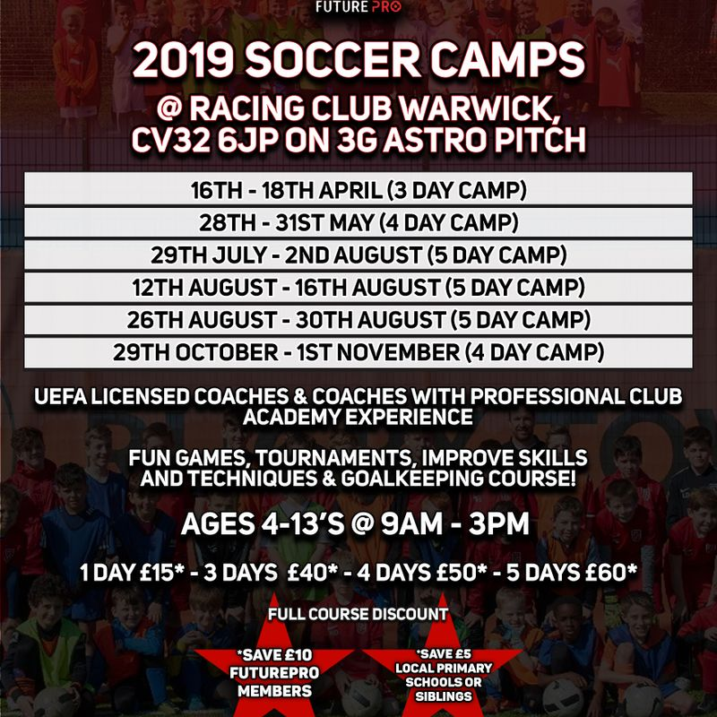 FuturePro Soccer Camps in May at Racing Club Warwick