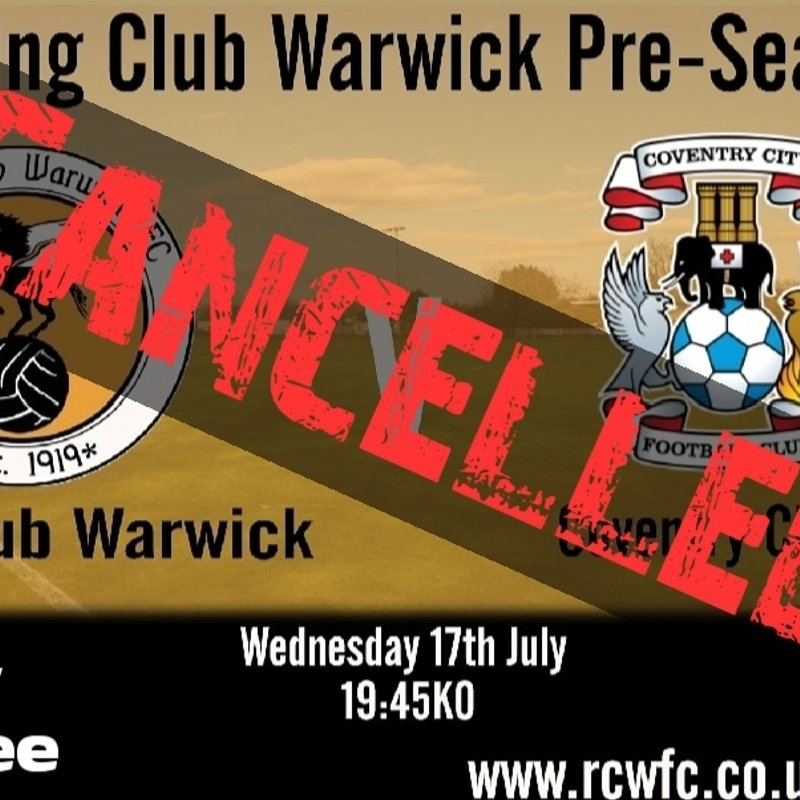 Coventry City clash cancelled