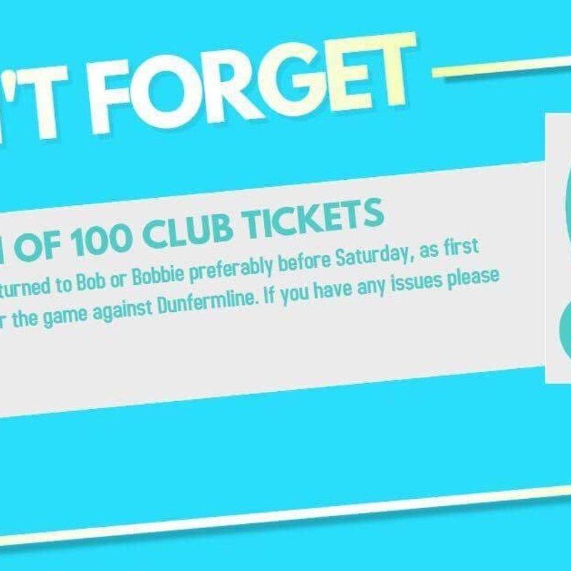 Return of 100 Club Tickets