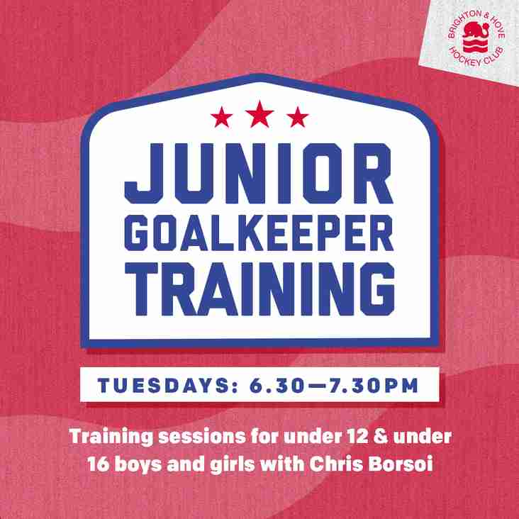 Junior goalkeeping training dates for 2018-19