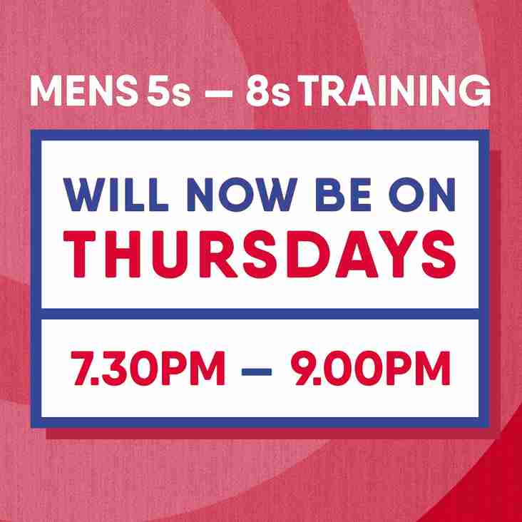 General men's training now every Thursday
