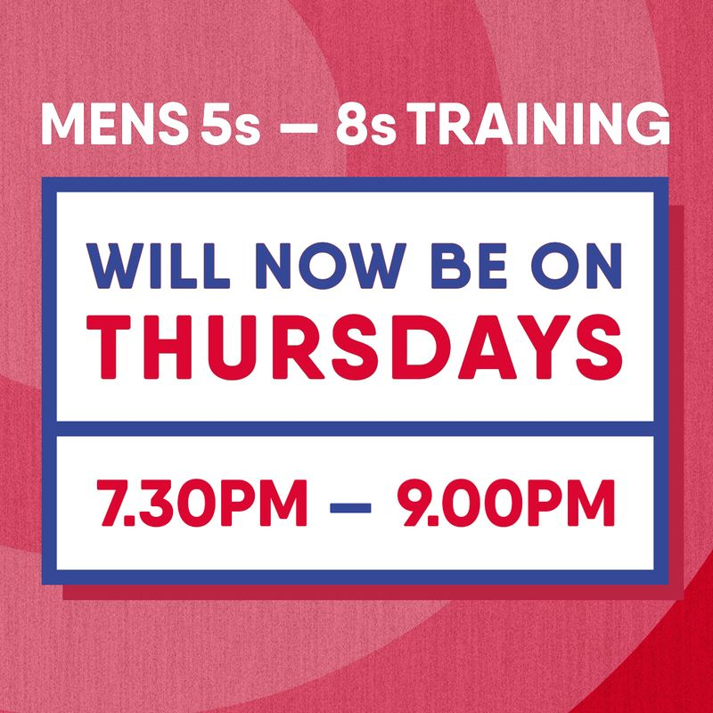 General men's training now every Thursday