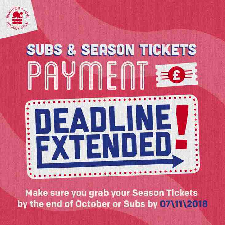 UPDATE: Subscriptions and season tickets for 2018-19