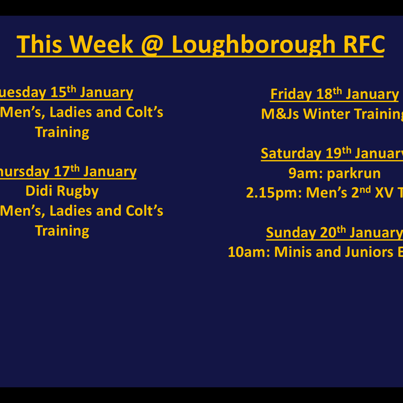 This week @ Loughborough RFC