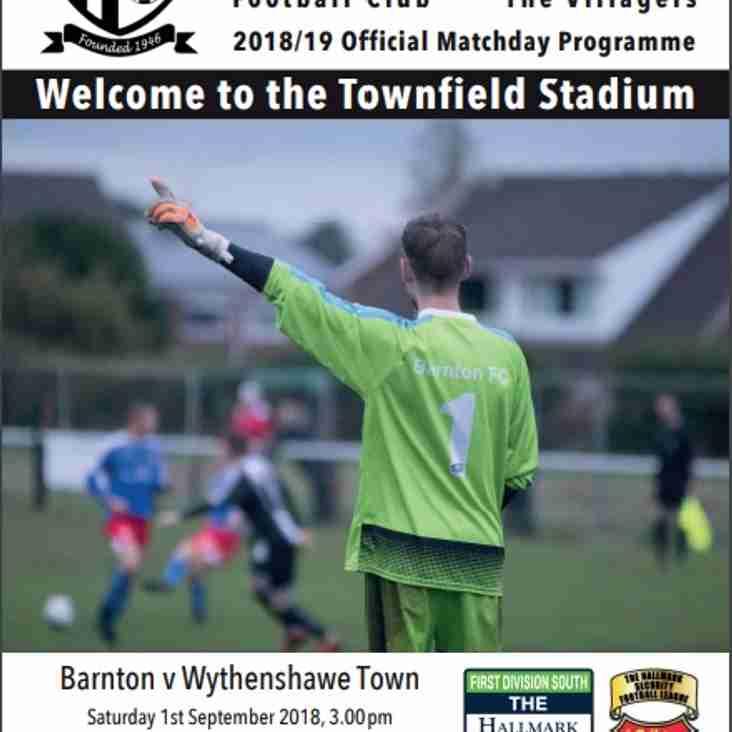 Barnton v Wythenshawe Town- Programme