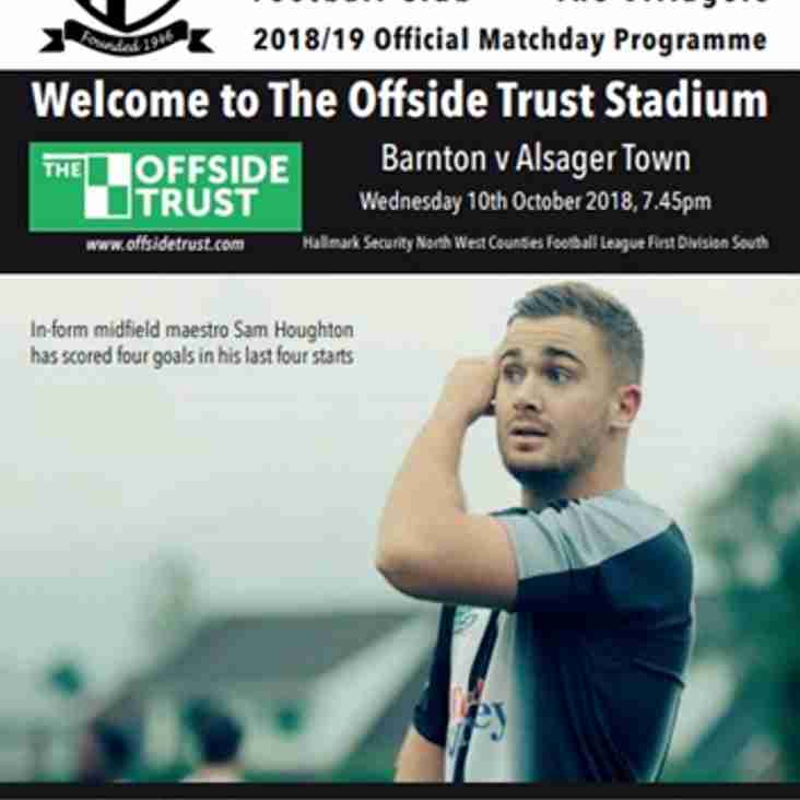Barnton v Alsager Town - Programme
