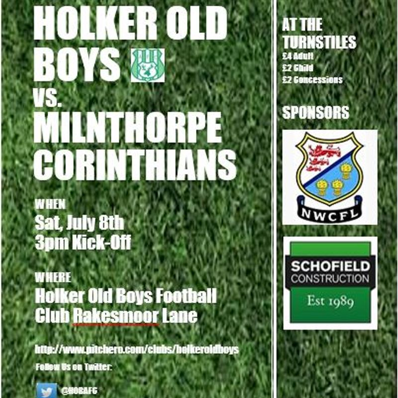 Pre-Season Friendly Holker Old Boys Vs. Milnthorpe Corinthians