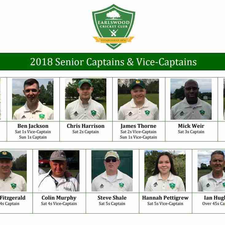 2018 Captains and Vice Captains