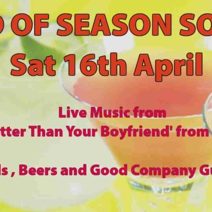 End of Season Social for all Members & Friends