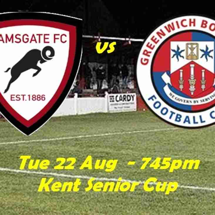 22 Aug: Ramsgate 1 Greenwich Borough 4 - Kent Senior Cup