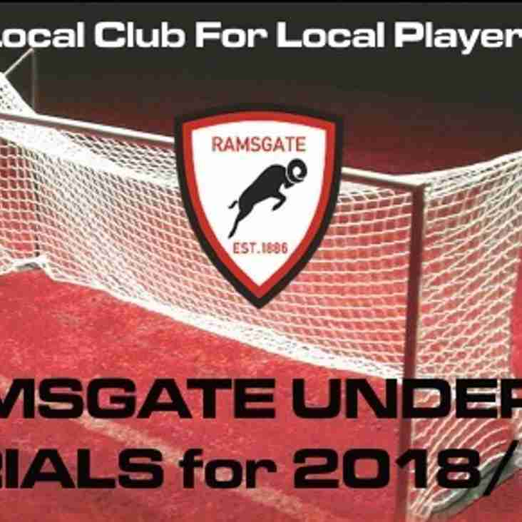 27 Apr: Under 18 Trials for 2018/19
