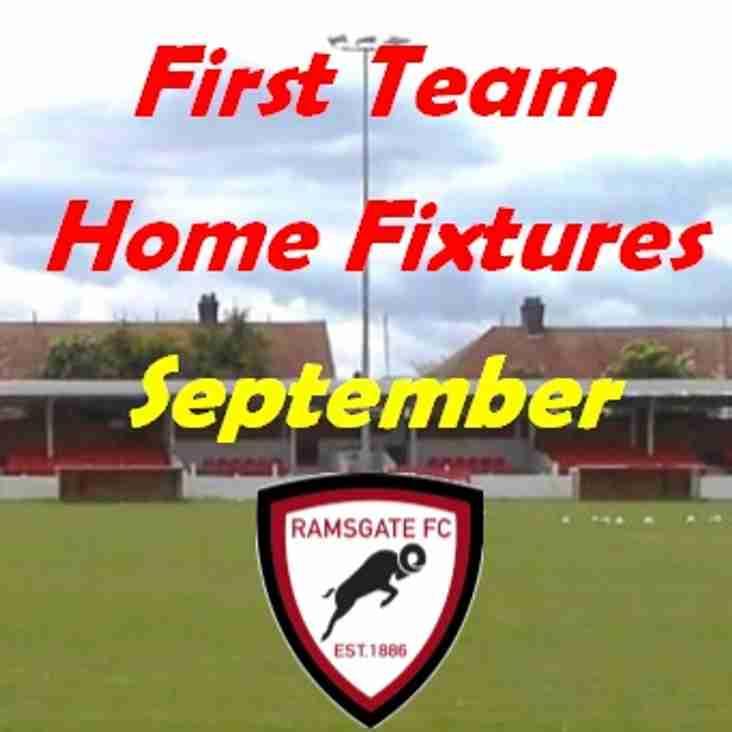 29 Aug: 1st Team Home Games in September