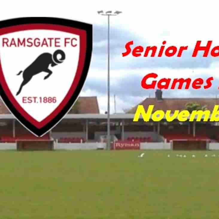 1 Nov: Senior Home Fixtures