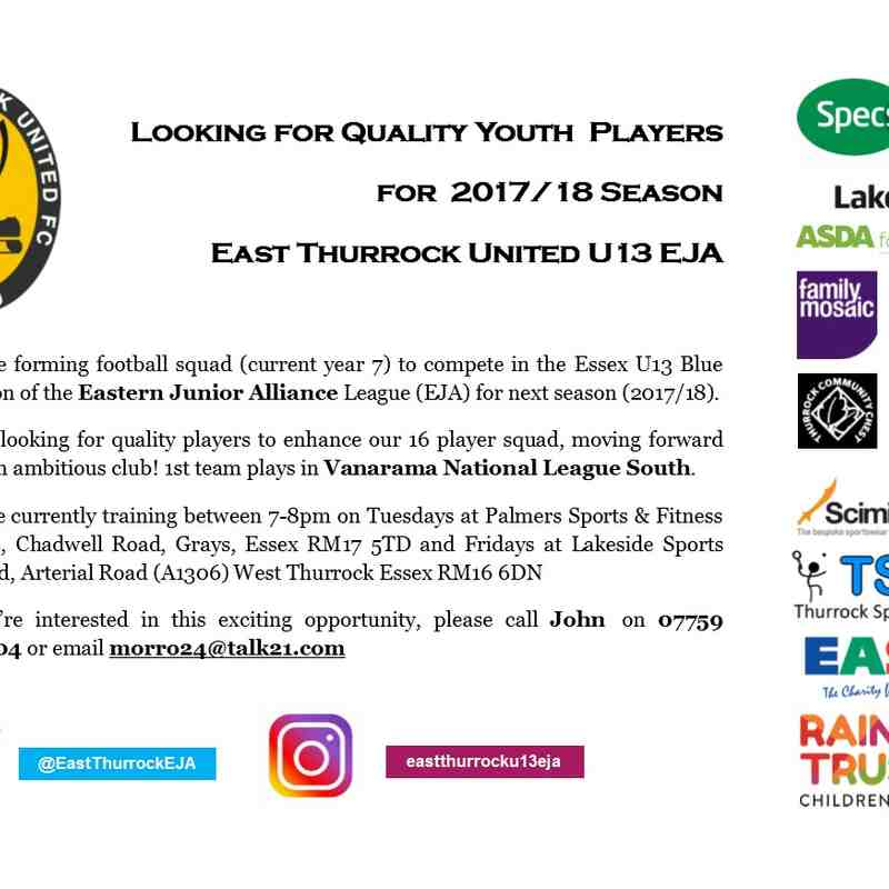 East Thurrock U13 EJA Looking for Players
