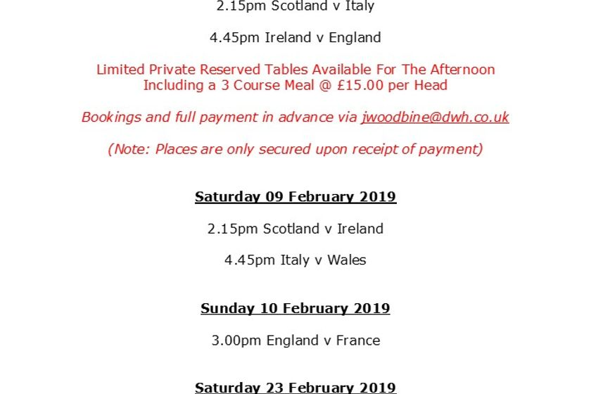 6 Nations Fixtures and Lunches at BRFC