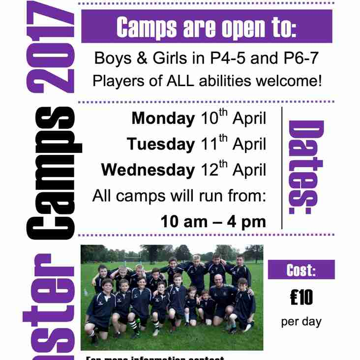 Dates for Perthshire Rugby Easter Camps 2017