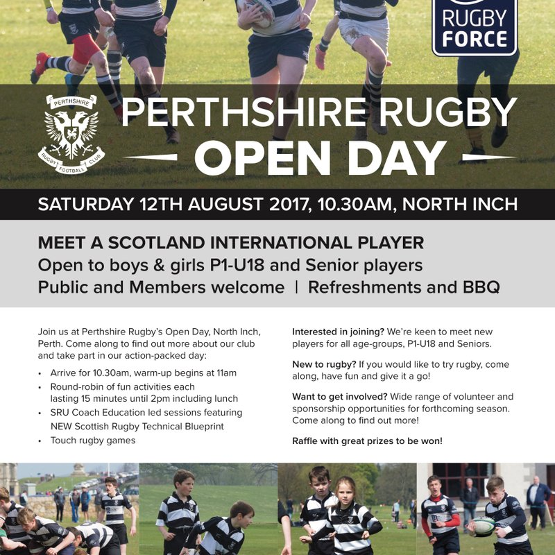 Scotland Internationals to touch down at Perthshire Rugby Open Day