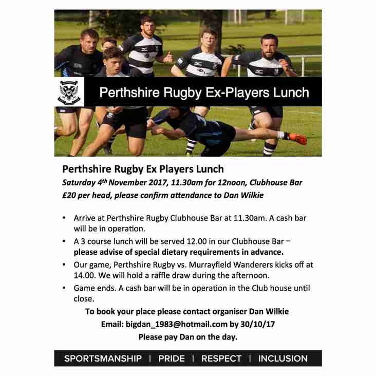 Ex Players Lunch 4th November
