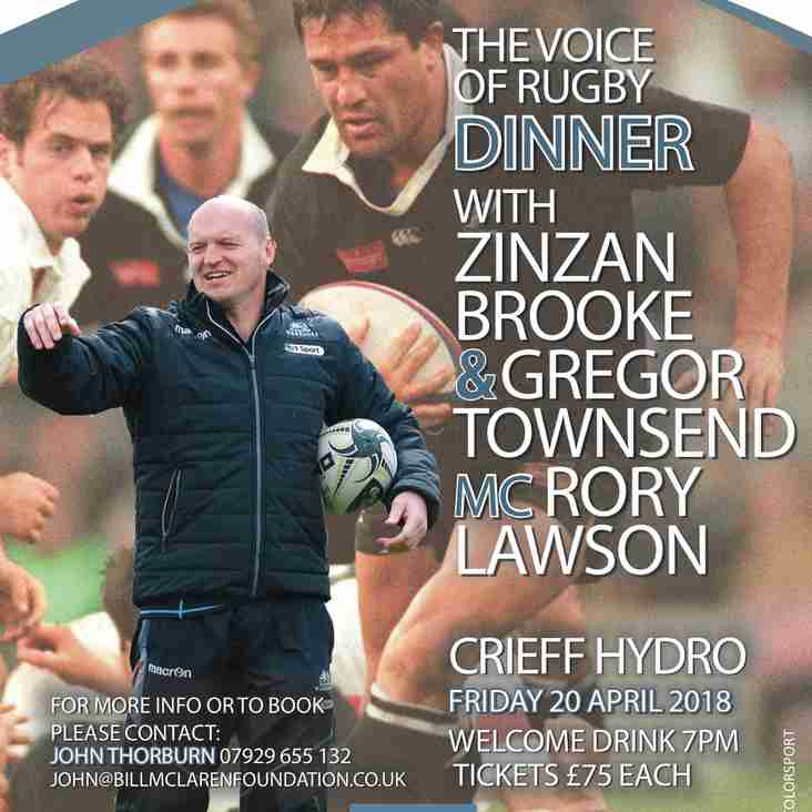 Gregor Townsend to lead Voice of Rugby Dinner Line-Up