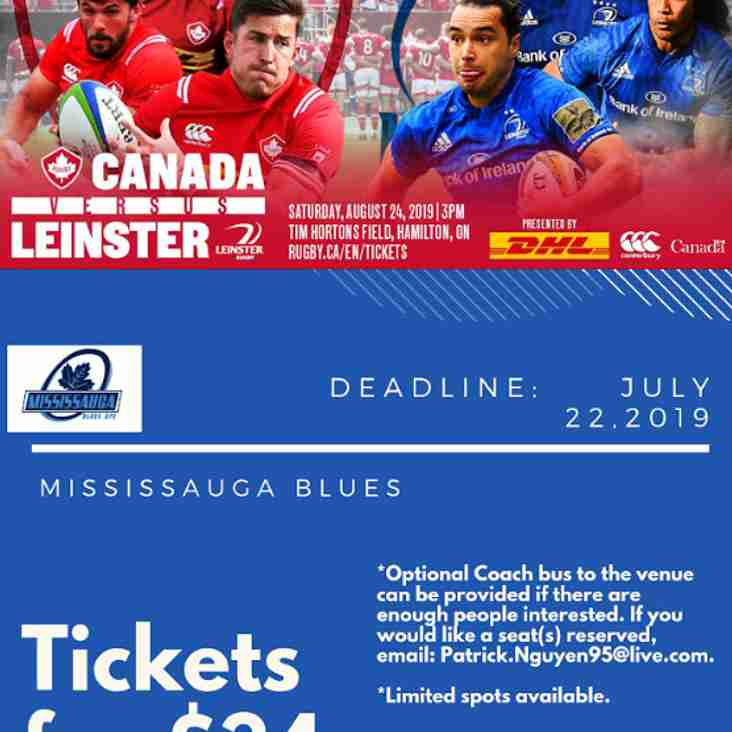 Get your tickets for Canada Vs Leinster
