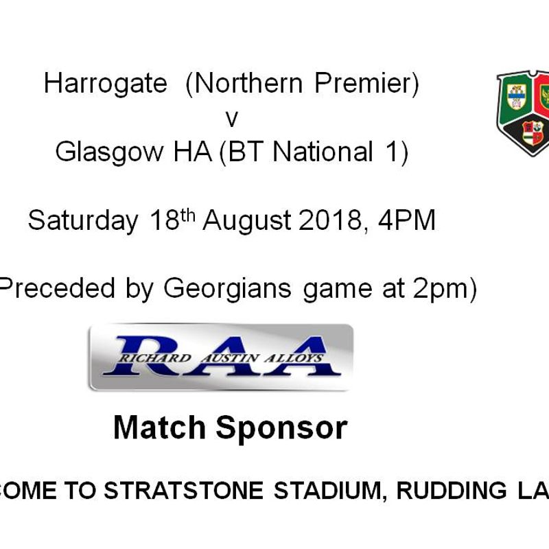Saturday 18th August - Harrogate v Glasgow HA RFC