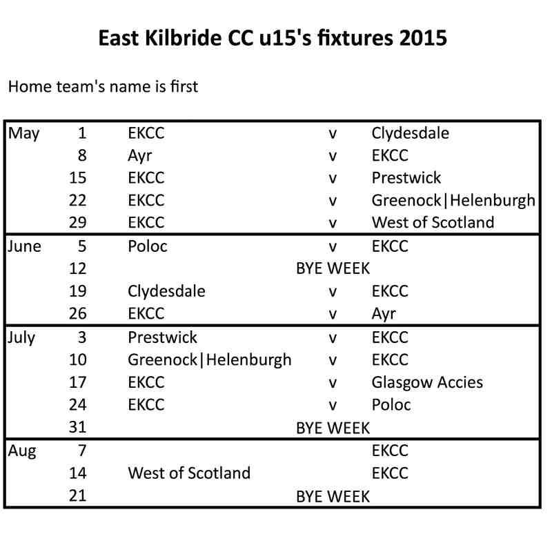 Junior Fixtures 2015