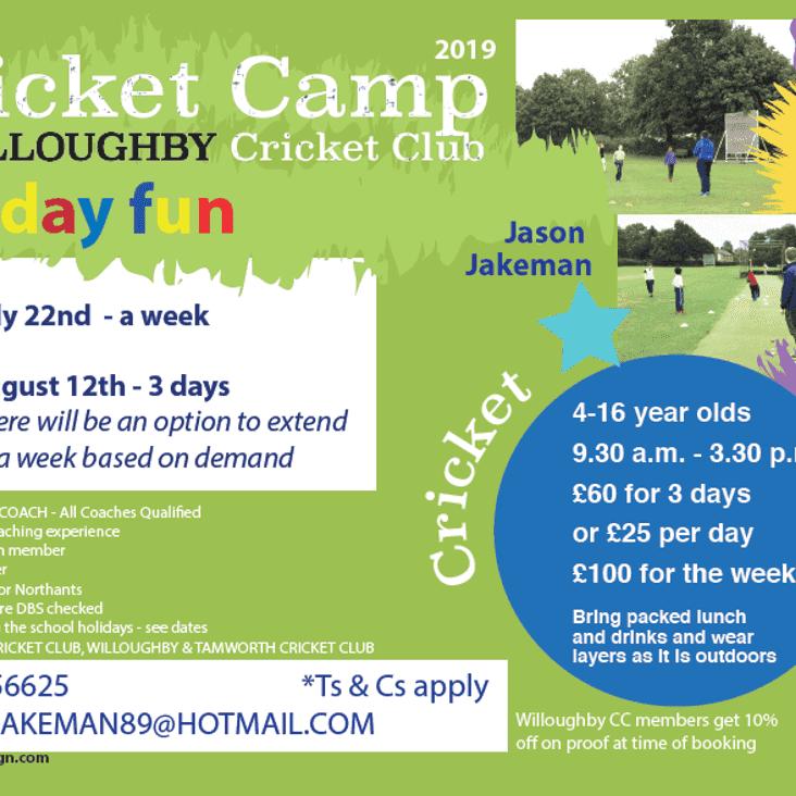 2019 Summer Cricket Camps