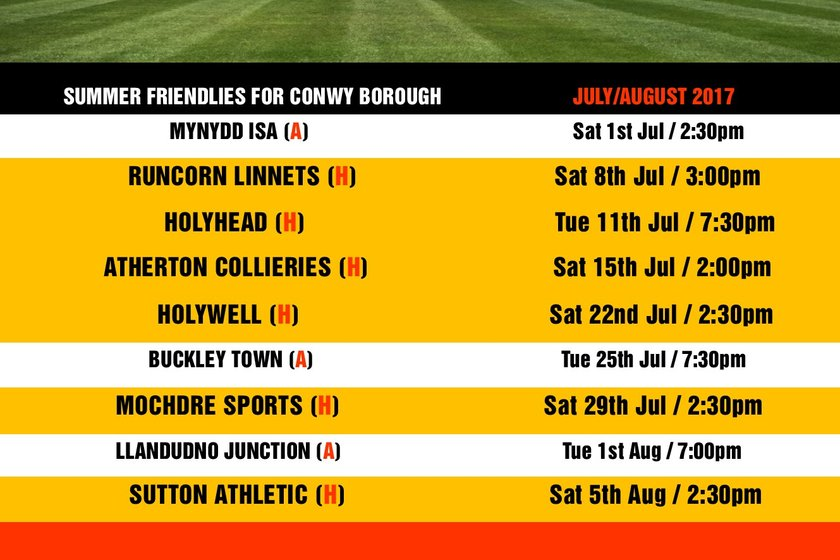Summer Friendlies for Conwy Borough!