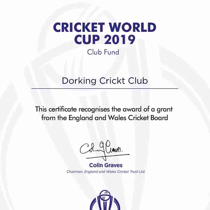Cricket World Cup Club Fund 2019 - Recognition Of DCC's Grant Award