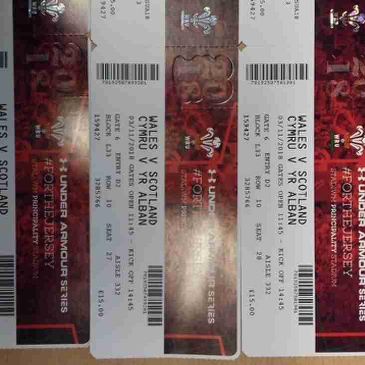Wales v Scotland Tickets 3rd November