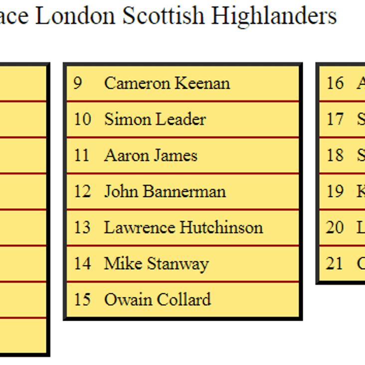 2nd XV Squad to Face London Scottish