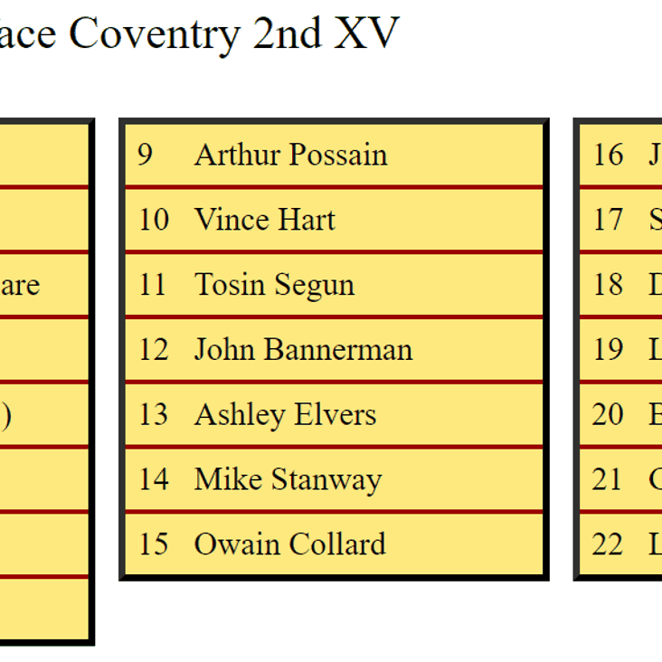 2nd XV Squad to face Coventry Development