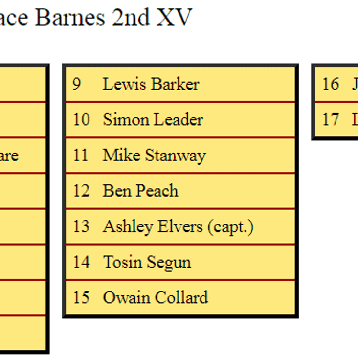 2nd XV Squad to Face Barnes 2nds