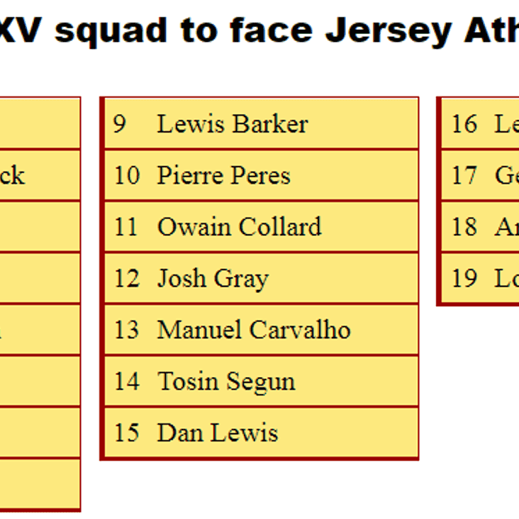 2nd XV Squad to Face Jersey Athletic