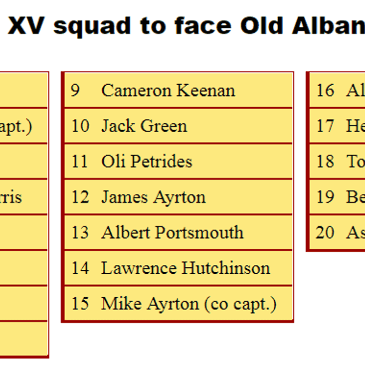 1st XV Squad to Face Old Albanian