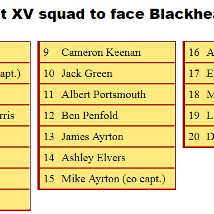 1st XV Squad to Face Blackheath