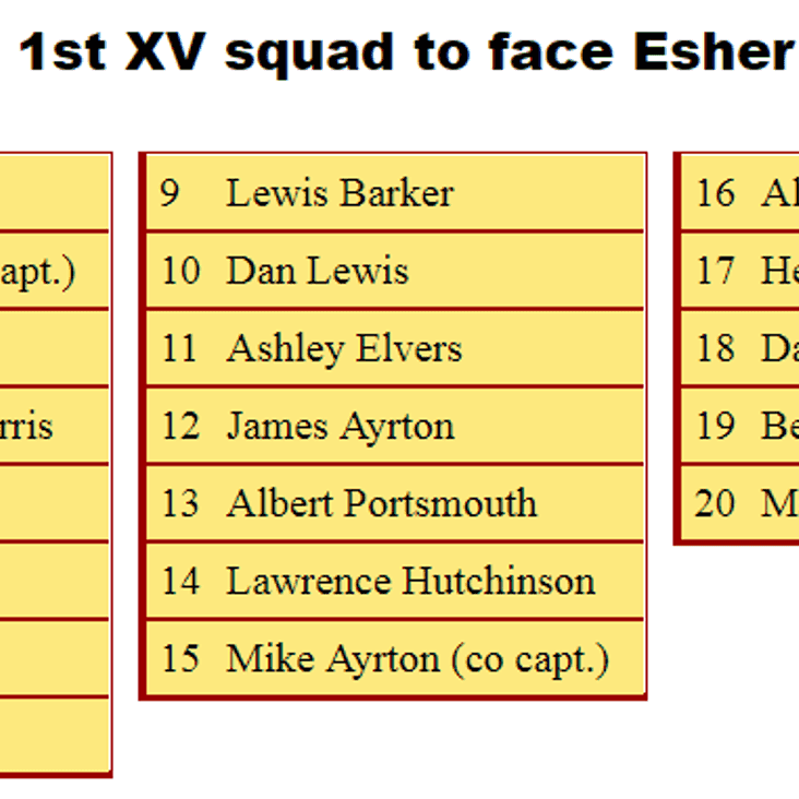 1st XV Squad to Face Esher