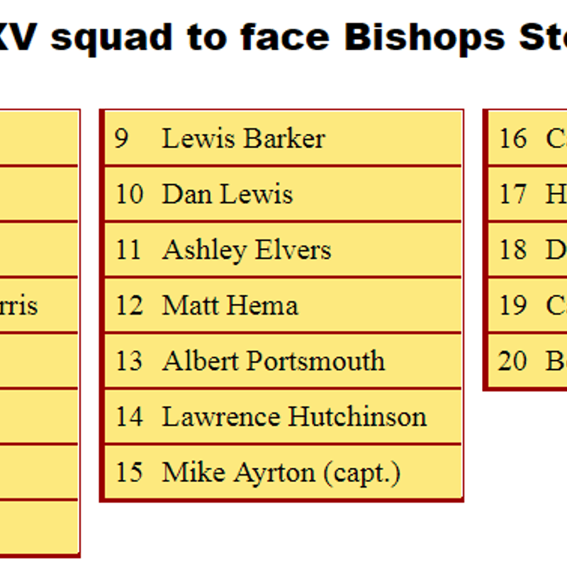 1st XV Squad to Face Bishop's Stortford