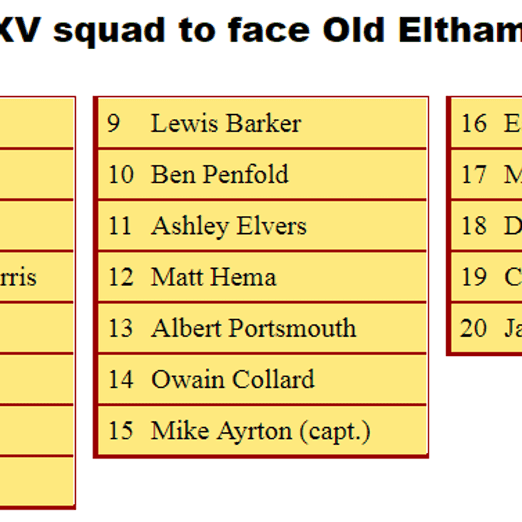 1st XV Squad to Face Old Elthamians