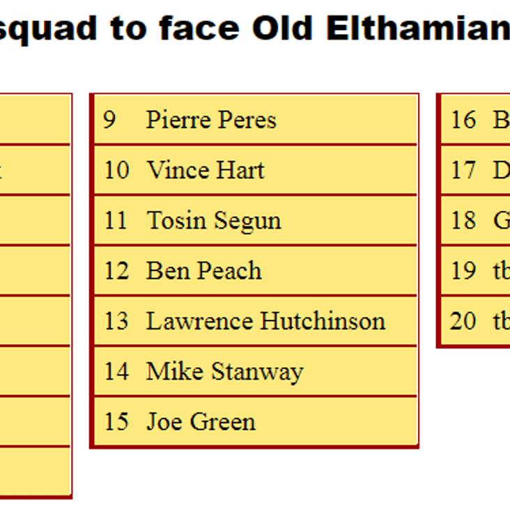 2nd XV Squad to Old Elthamanian 2nds