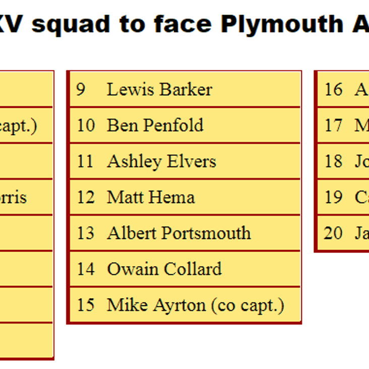1st XV Squad to Face Plymouth Albion