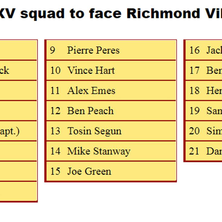 2nd XV Squad to Face Richmond Vikings