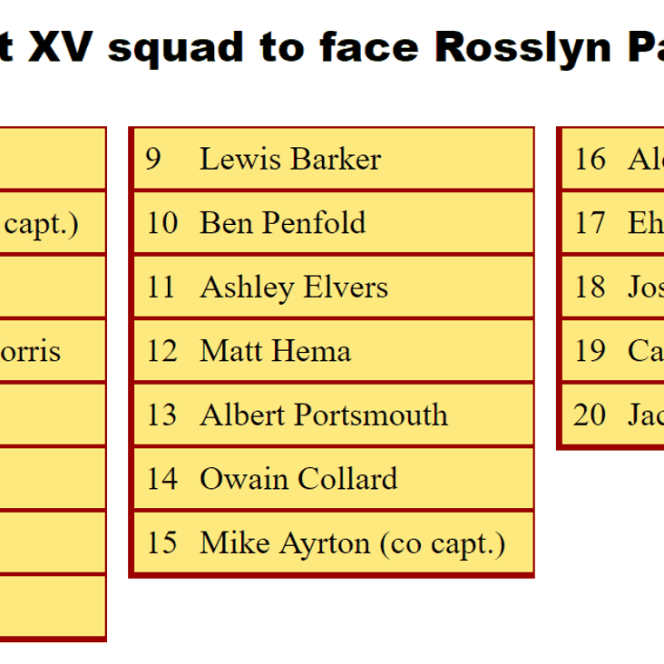 1st XV Squad to Face Rosslyn Park