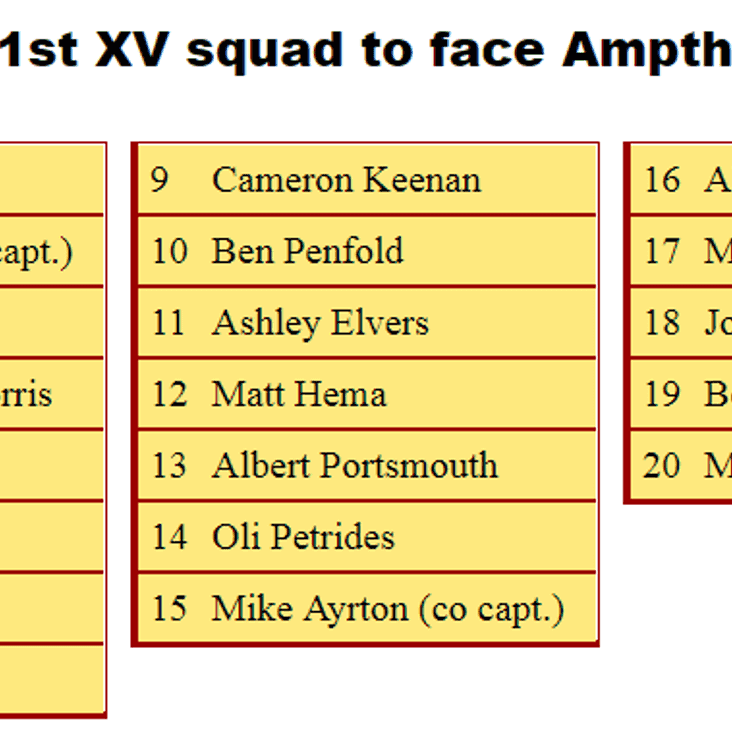 1st XV Squad to Face Ampthill