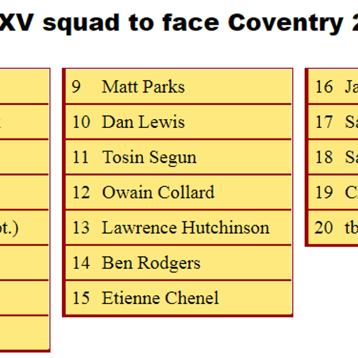 2nd XV Squad to Face Coventry 2nds