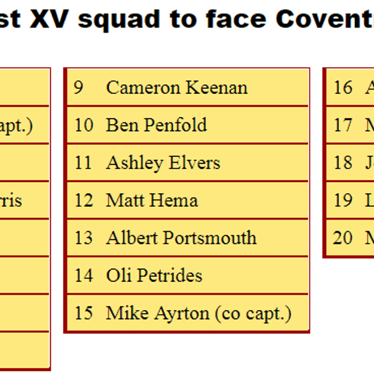 1st XV Squad to Face Coventry