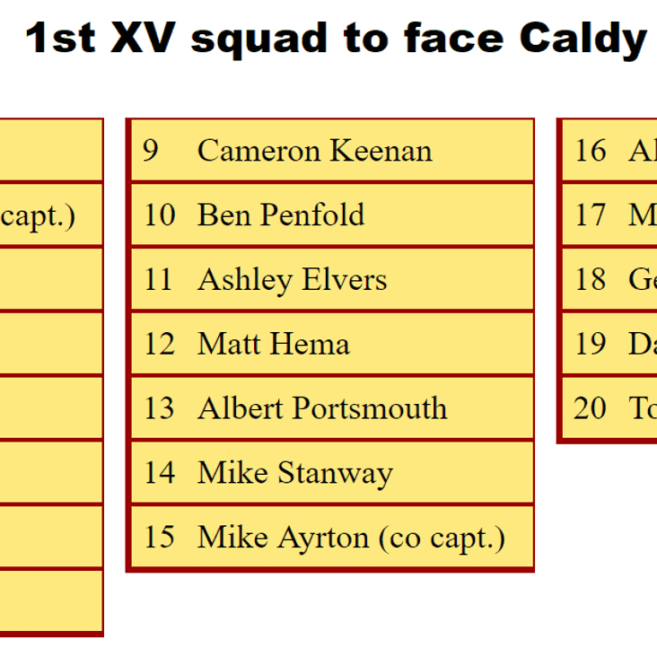 1st XV Squad to Face Caldy
