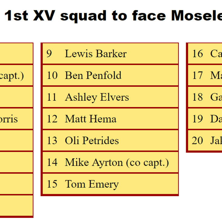 1st XV Squad to Face Birmingham Moseley